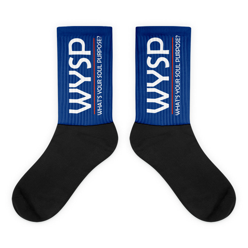 WYSP - What's Your Soul Purpose? - Bold - White - Blue & Black Foot Sublimated Socks