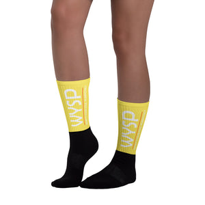WYSP - What's Your Soul Purpose? - Bold - White - Yellow & Black Foot Sublimated Socks