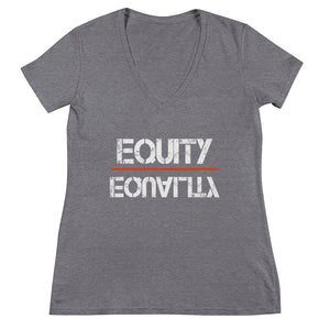 Equity Over Equality - White - Women's Fashion Deep V-neck Tee