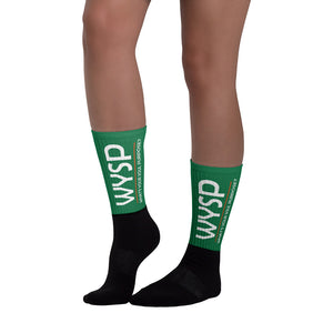 WYSP - What's Your Soul Purpose? - Bold - White - Green & Black Foot Sublimated Socks