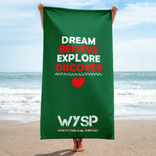 Load image into Gallery viewer, Dream Believe Explore Discover - Green Towel