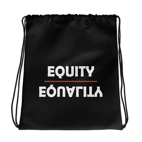 Equity Over Equality - Bold - White - Drawstring bag