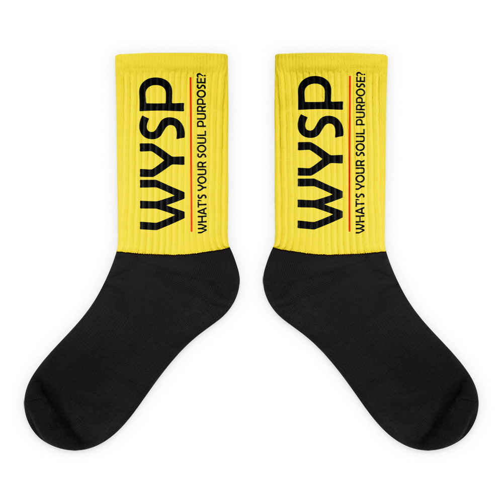 WYSP - What's Your Soul Purpose? - Bold - Black - Yellow & Black Foot Sublimated Socks