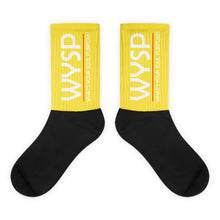 Load image into Gallery viewer, WYSP - What's Your Soul Purpose? - Bold - White - Yellow & Black Foot Sublimated Socks