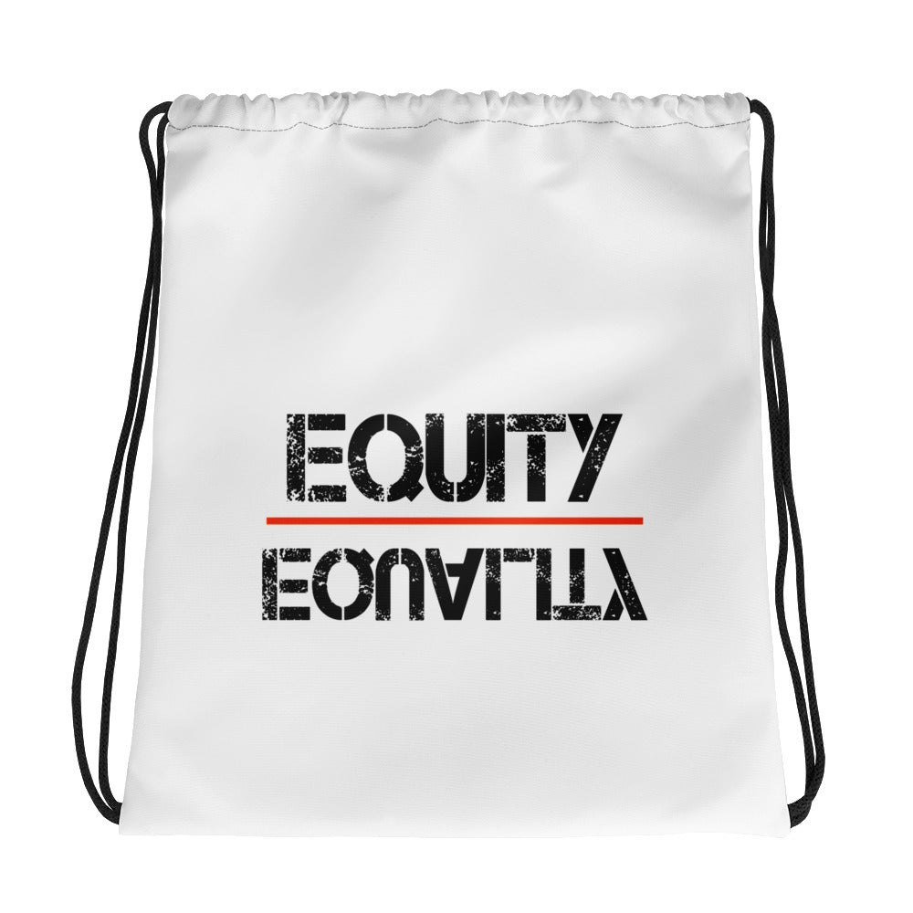Equity Over Equality - Black - Drawstring bag