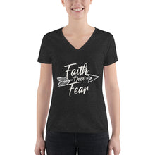 Load image into Gallery viewer, Faith Over Fear - Women's V-neck Tee