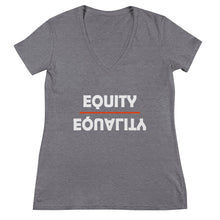 Load image into Gallery viewer, Equity Over Equality - Bold - White - Women's Fashion Deep V-neck Tee