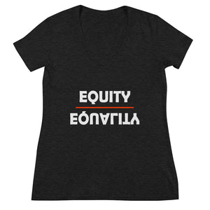 Equity Over Equality - Bold - White - Women's Fashion Deep V-neck Tee