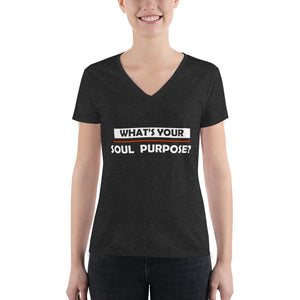 What's Your Soul Purpose? - Bold - White - Women's Fashion Deep V-neck Tee