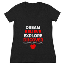 Load image into Gallery viewer, Dream Believe Explore Discover - Women's Fashion Deep V-neck Tee