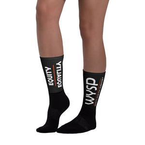 WYSP - Equity Over Equality - Bold - White - Black & Black Foot Sublimated Socks