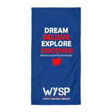 Load image into Gallery viewer, Dream Believe Explore Discover - Blue Towel