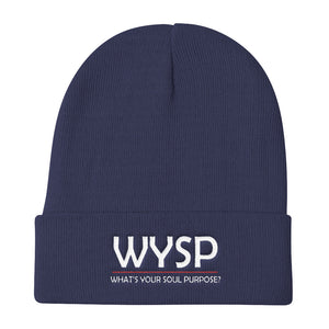 WYSP - What's Your Soul Purpose? - Bold - White - Knit Beanie