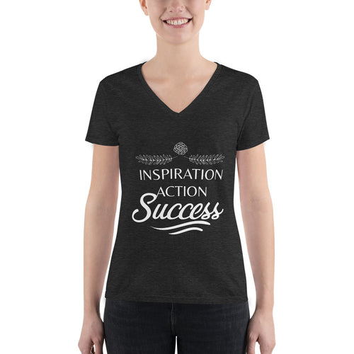 Inspiration Action Success - Women's Fashion Deep V-neck Tee