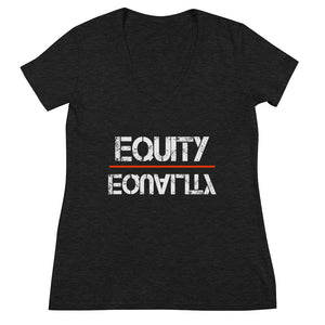 Equity Over Equality - Black - Women's Fashion Deep V-neck Tee
