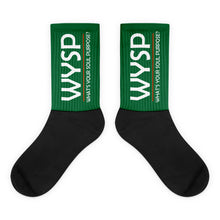 Load image into Gallery viewer, WYSP - What's Your Soul Purpose? - Bold - White - Green & Black Foot Sublimated Socks