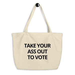 Take Out To Vote - Bold Block - Large organic tote bag