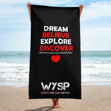 Load image into Gallery viewer, Dream Believe Explore Discover - Black Towel