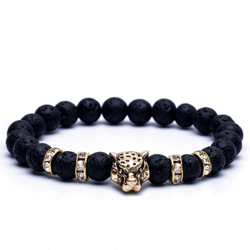 Calming Natural Stone Beads Black Onyx Leopard Bracelets