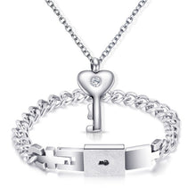Load image into Gallery viewer, Fashion Couple Lovers Jewelry Heart Lock Bracelet