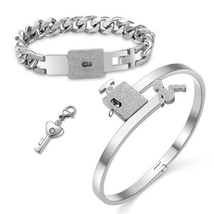 Fashion Couple Lovers Jewelry Heart Lock Bracelet