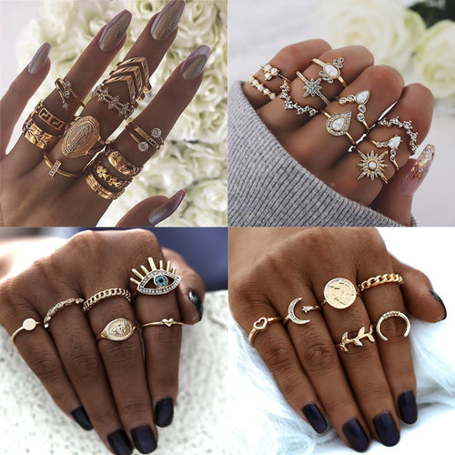 Bohemian Gold Color Metal Rings Set Stacking Crystal for Women