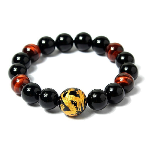Calming Good Luck Golden Dragon Ball Agate Bracelet for Men