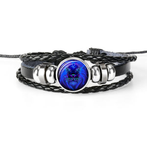 Constellation Zodiac Sign Black Braided Leather Bracelet