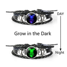 Load image into Gallery viewer, Constellation Zodiac Sign Black Braided Leather Bracelet