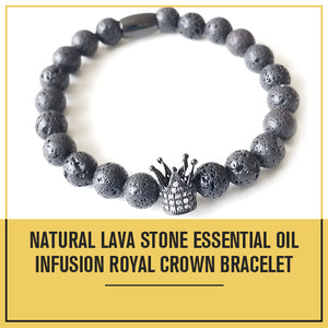 Natural Lava Stone Essential Oil Infusion Royal Crown Bracelet