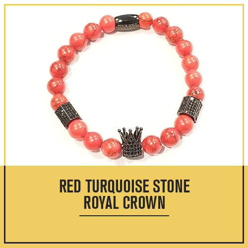 Beaded Bracelet Red Turquoise Royal Crown