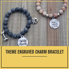 Load image into Gallery viewer, Natural Stone Handmade Custom Engraved Charm Bracelet