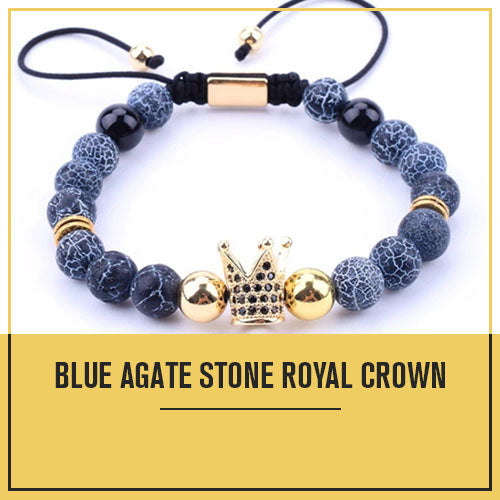 Royal Crown Blue Agate Stone Bracelet - Stability Balance Strength