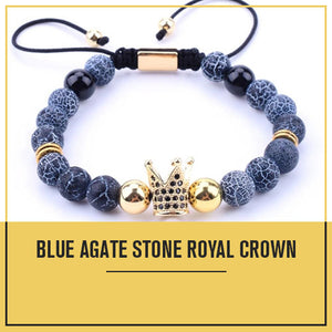 Royal Crown Blue Agate Stone Bracelet