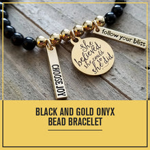 Load image into Gallery viewer, Powerful Protection Onyx Yellow Gold Bracelet