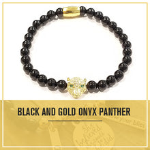 Load image into Gallery viewer, Healing Golden Black Onyx Panther Bracelet for Power Protection