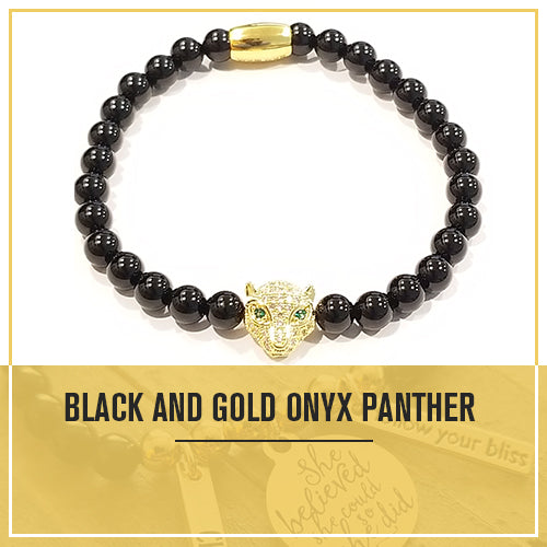 Healing Golden Black Onyx Panther Bracelet for Power Protection