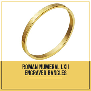 Engraved Roman Numeral Bangle