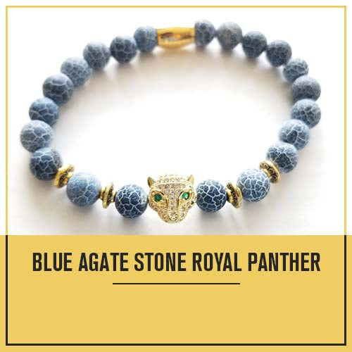 Calming Blue Agate and Royal Panther Bracelet