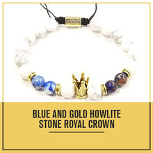 Load image into Gallery viewer, Aggie Blue and Gold Howlite Crown Bracelet