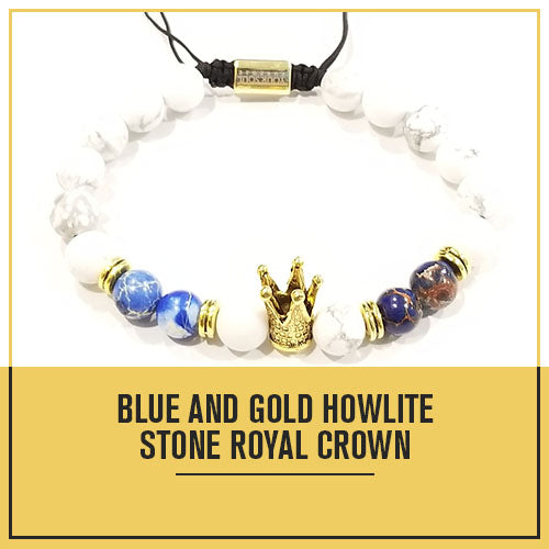 Adjustable Blue and Gold Howlite Beaded Crown Bracelet