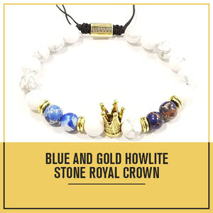 Adjustable 8MM Blue and Gold Howlite Beaded Crown Bracelet