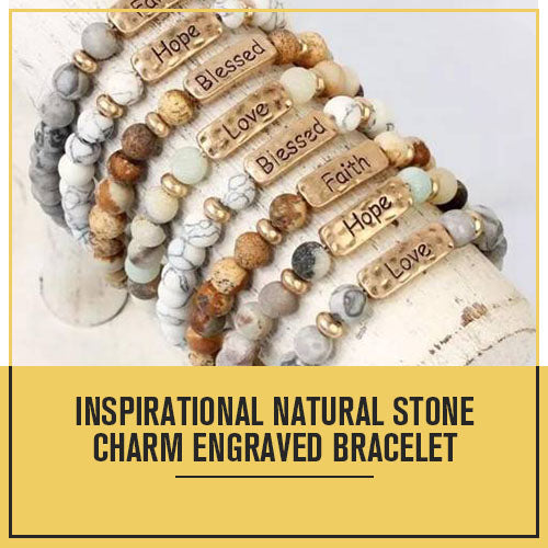 Inspirational Natural Stone Charm Engraved Bracelet Multi-colors, Peach
