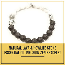 Load image into Gallery viewer, Natural Lava & Howlite Stone Essential Oil Infusion Zen Bracelet