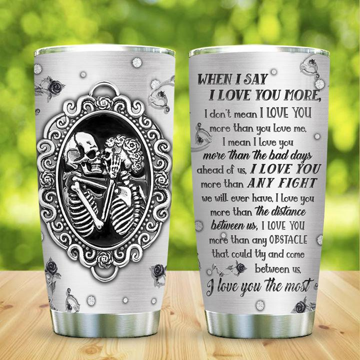 Metal Style Skull Couple Love You Stainless Steel Tumbler
