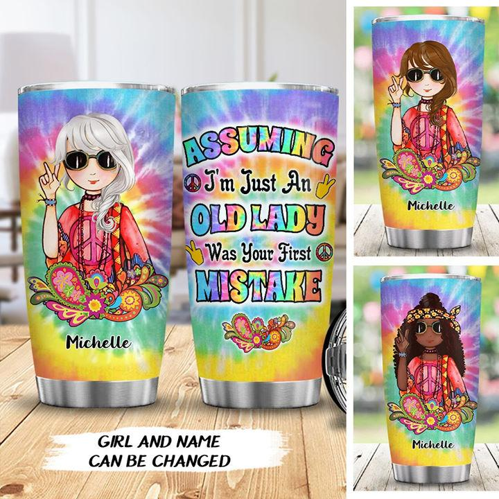 Old Lady Hippie Stainless Steel Tumbler