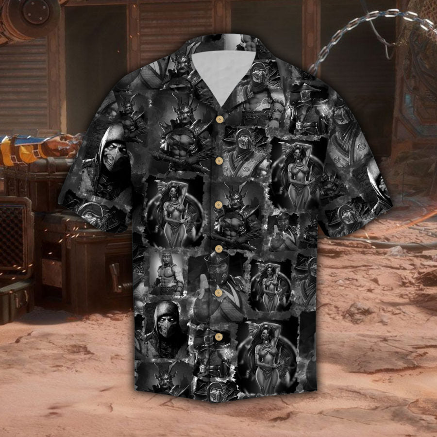 MK Black And White Hawaii Shirt