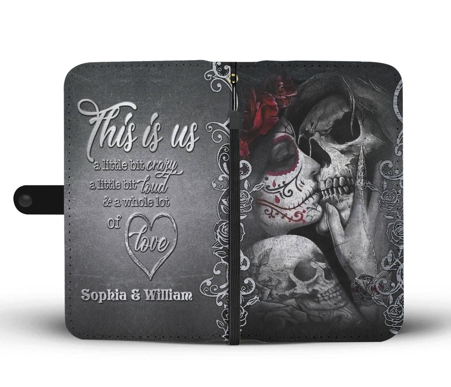 Custom Kissing Skeleton Couple Wallet Case
