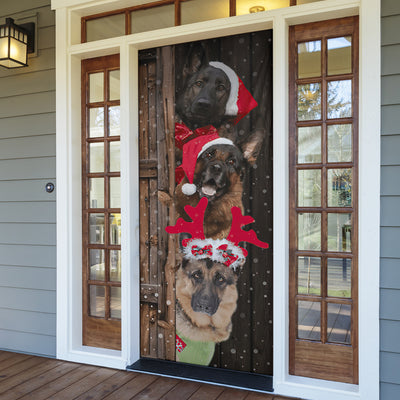 German Shepherd Dogs Christmas Door Cover