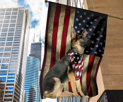Old German Shepherd Dog America Flag